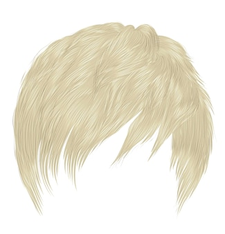 Trendy woman man short hairs blond colors. fringe. realistic 3d.