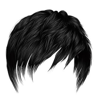 Модные женщины мужчина короткие волосы брюнетка черные цвета. реалистичный 3d.