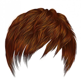 Trendy woman  man short  hairs  red ginger redhead  colors . fringe . fashion beauty style . realistic   .