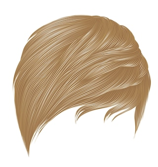 Trendy woman short hairs blond colors. fringe. realistic 3d.