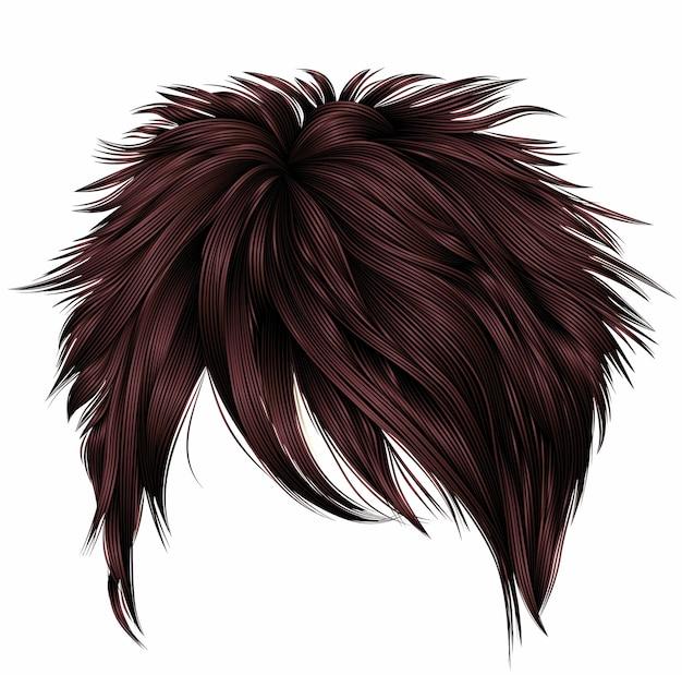 Модные женские короткие волосы коричневого цвета. бахрома. мода. реалистичный 3d.