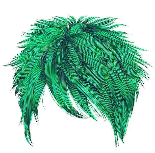 유행 여자 짧은 머리카락 녹색 색상. 주변. 패션. 현실적인 3d.