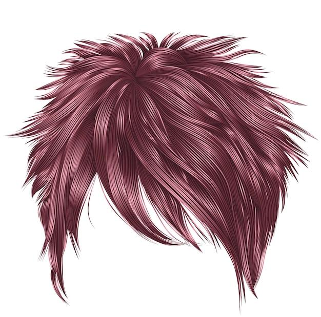 Модные женские короткие волосы розового цвета. бахрома. реалистичный 3d.