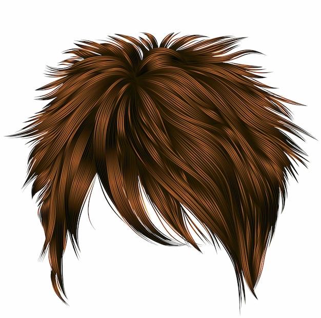 Модные женские короткие волосы с бахромой. темно-коричневый цвет. реалистичный 3d.