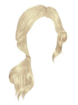 Trendy women hairs blond light colour. tail.