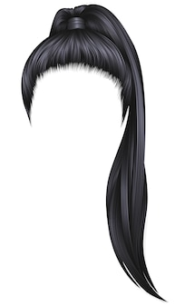 Trendy women hairs brunette black colour .high ponytail . fashion beauty style .
