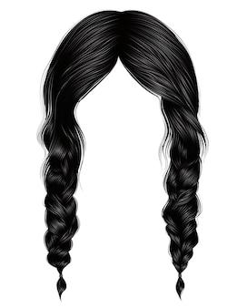 Trendy women hairs brunette black colour. two plaits.