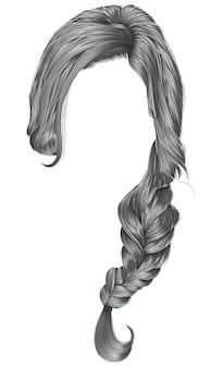 Trendy women hairs gray colour. plait.