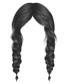 Trendy women hairs gray colour. two plaits.