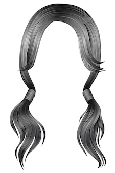 Trendy women hairs gray silver colour. two pigtails.