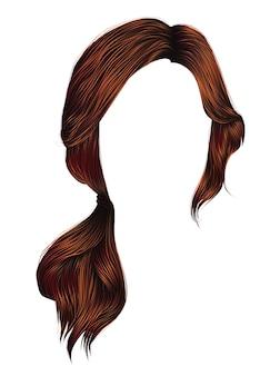 Trendy women hairs redhead colour. tail.