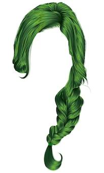 Trendy women plait hairs green colour  .