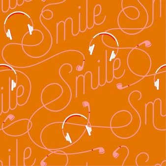 Trendy  wording of smile create by modern earphone seamless pattern