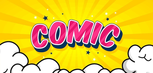 Trendy yellow comic background with cloud and star