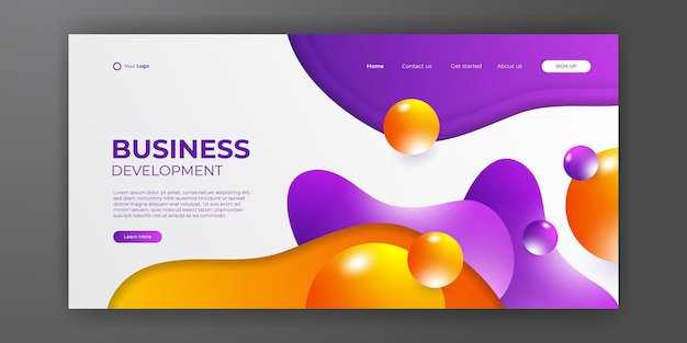 Trendy yellow purple abstract liquid background for your landing page design. minimal background for for website designs.