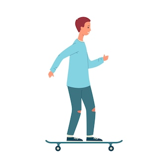Trendy young guy or man cartoon character standing on skateboard,   illustration  on white background. male casual personage of city streets.