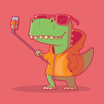 Trexキャラクター撮影selfieベクトルイラスト技術動物面白いデザインコンセプト
