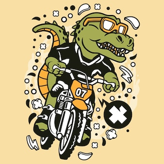 Trex Motocross Rider Cartoon