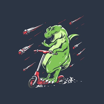 Trex scooter hand drawn