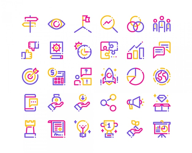 Tri-color line business icons.