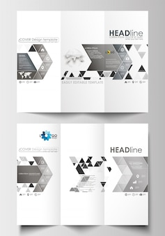 Tri-fold brochure business templates on both sides. abstract triangular background