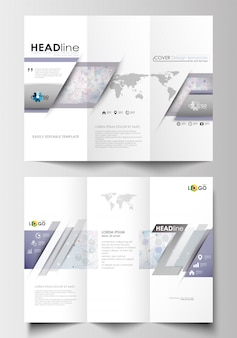 Tri-fold brochure business templates on both sides. molecule structure