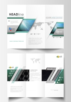 Tri-fold brochure business templates on both sides.