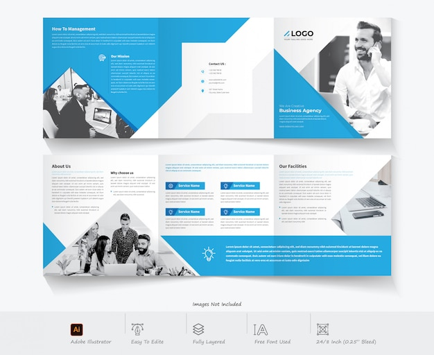 Tri-fold brochure design. corporate business