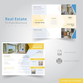 Tri fold brochure design for real estate company Premium Vector