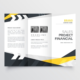Tri-fold brochure design template in modern geometric style