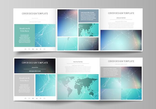 Tri-fold brochure editable template. triptych