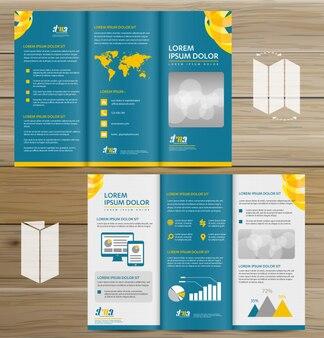 Tri-fold brochure mock-up, realistic rendering of tri-fold brochure background, 3d illustration