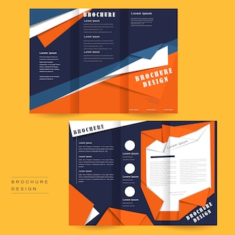 Tri-fold brochure template design in origami style