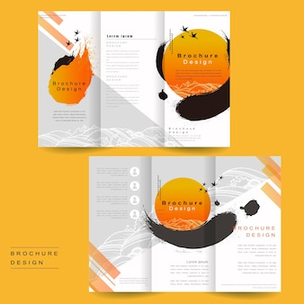 Tri-fold brochure template design with ink brush and geometric graphic