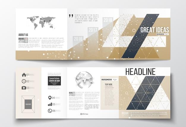 Трехкратные брошюры, квадратные шаблоны дизайна