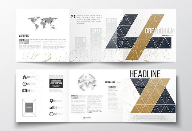 Трехкратные брошюры, квадратные шаблоны дизайна.
