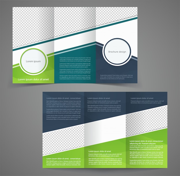 Tri-fold business brochure template, two-sided template design