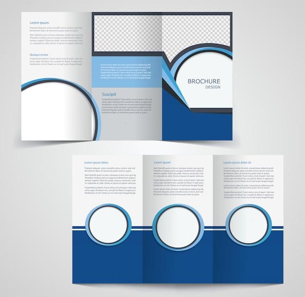 3つ折りビジネスパンフレットテンプレート、両面テンプレートデザイン