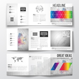 Tri-fold templates for brochure with polygonal backgrounds