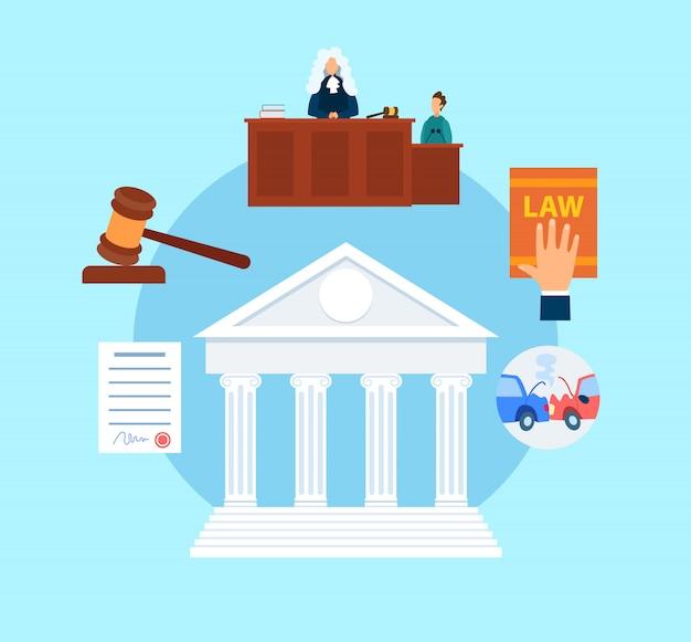 Trial procedure symbols flat