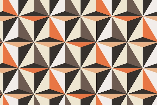 Triangle 3d geometric pattern vector orange background in abstract style