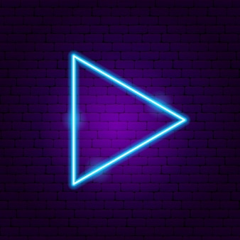 Triangle arrow neon sign. vector illustration of direction promotion.