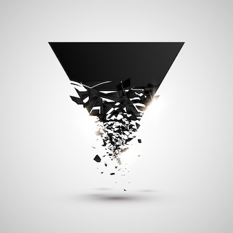 Triangle black particles with explosive effect.