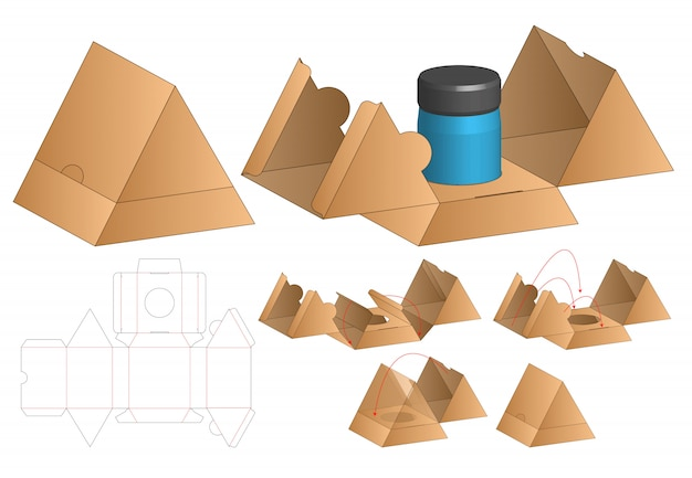Triangle box packaging die cut template . 3d