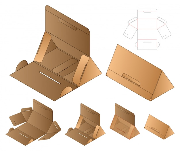 Triangle box packaging die cut template . 3d