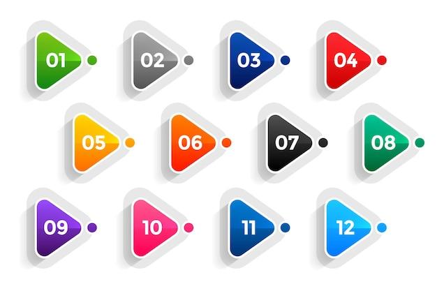 1에서 12까지의 삼각형 방향 글 머리 기호 번호