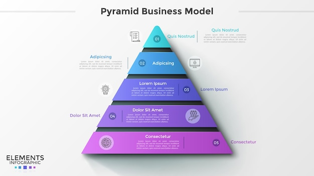 Triangle divided into 5 numbered pieces, thin line icons and place for text. pyramid business model with five levels. creative infographic design template. vector illustration for presentation.
