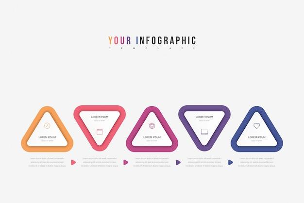 삼각형 요소 infographic. 다섯 가지 옵션, 부품, 단계 또는 프로세스와 비즈니스 개념.