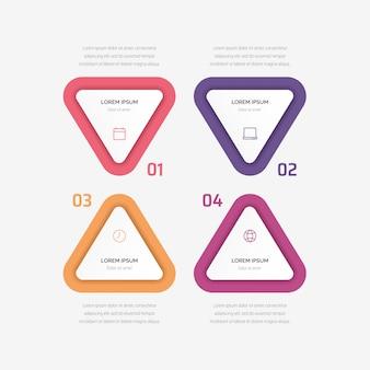 삼각형 요소 infographic. 네 가지 옵션, 부품, 단계 또는 프로세스가 포함 된 비즈니스 개념.