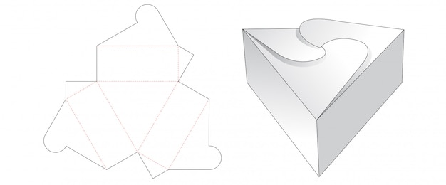 Triangle gift box cut template design